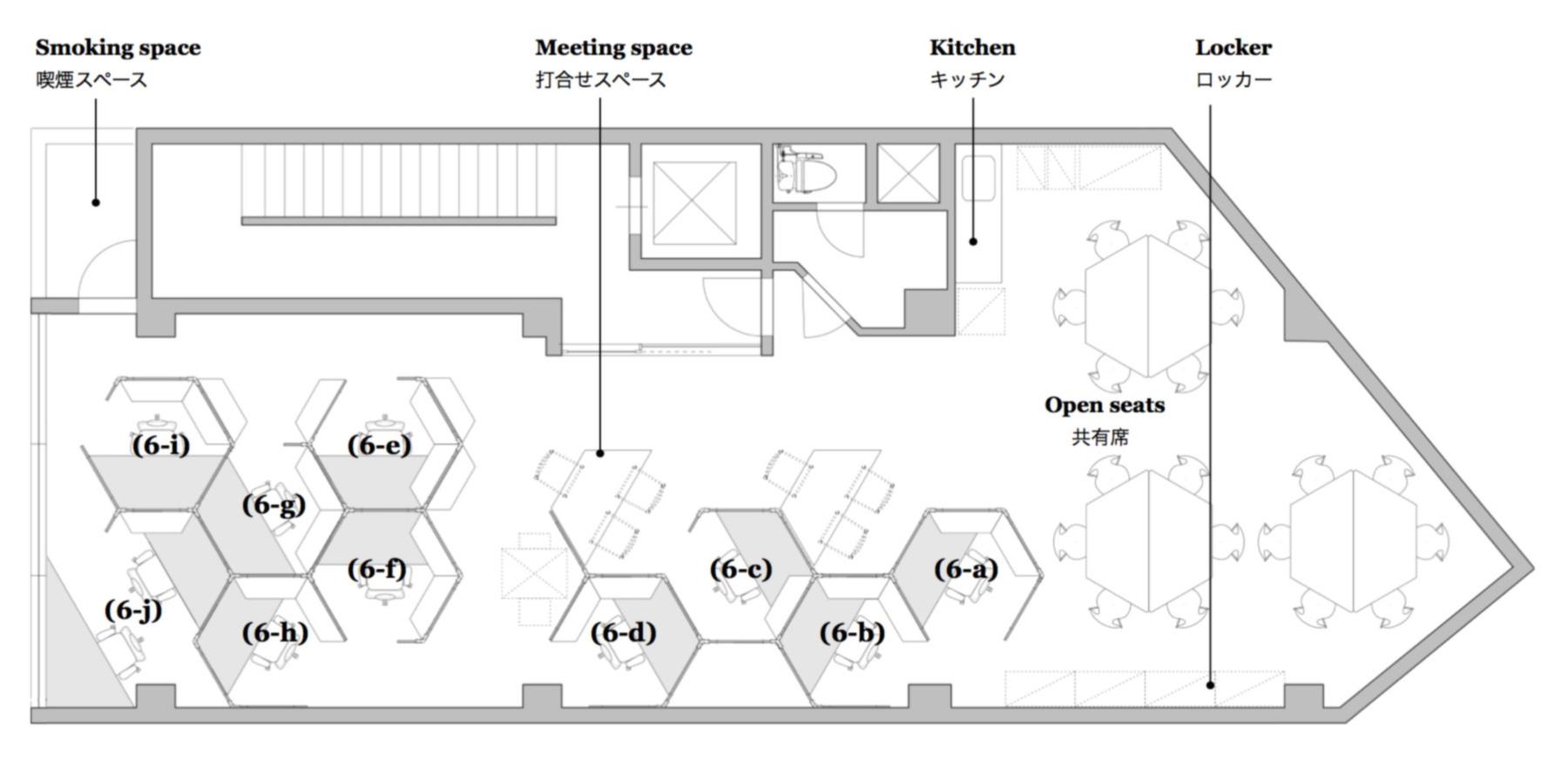 渋谷 シェアオフィス x コワーキング | Connecting The Dots SHIBUYA|6階レイアウト