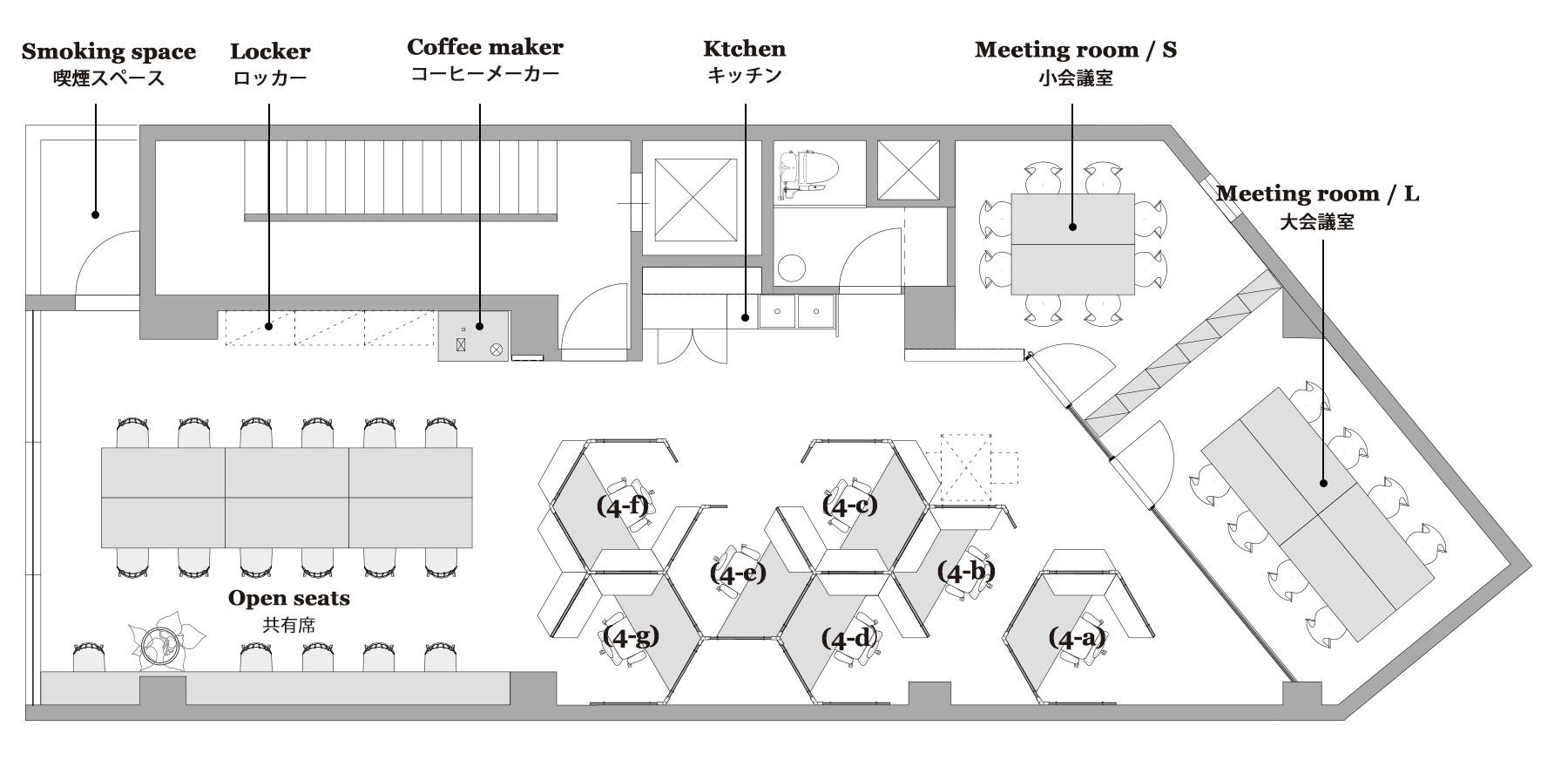 渋谷 シェアオフィス x コワーキング | Connecting The Dots SHIBUYA|4階レイアウト