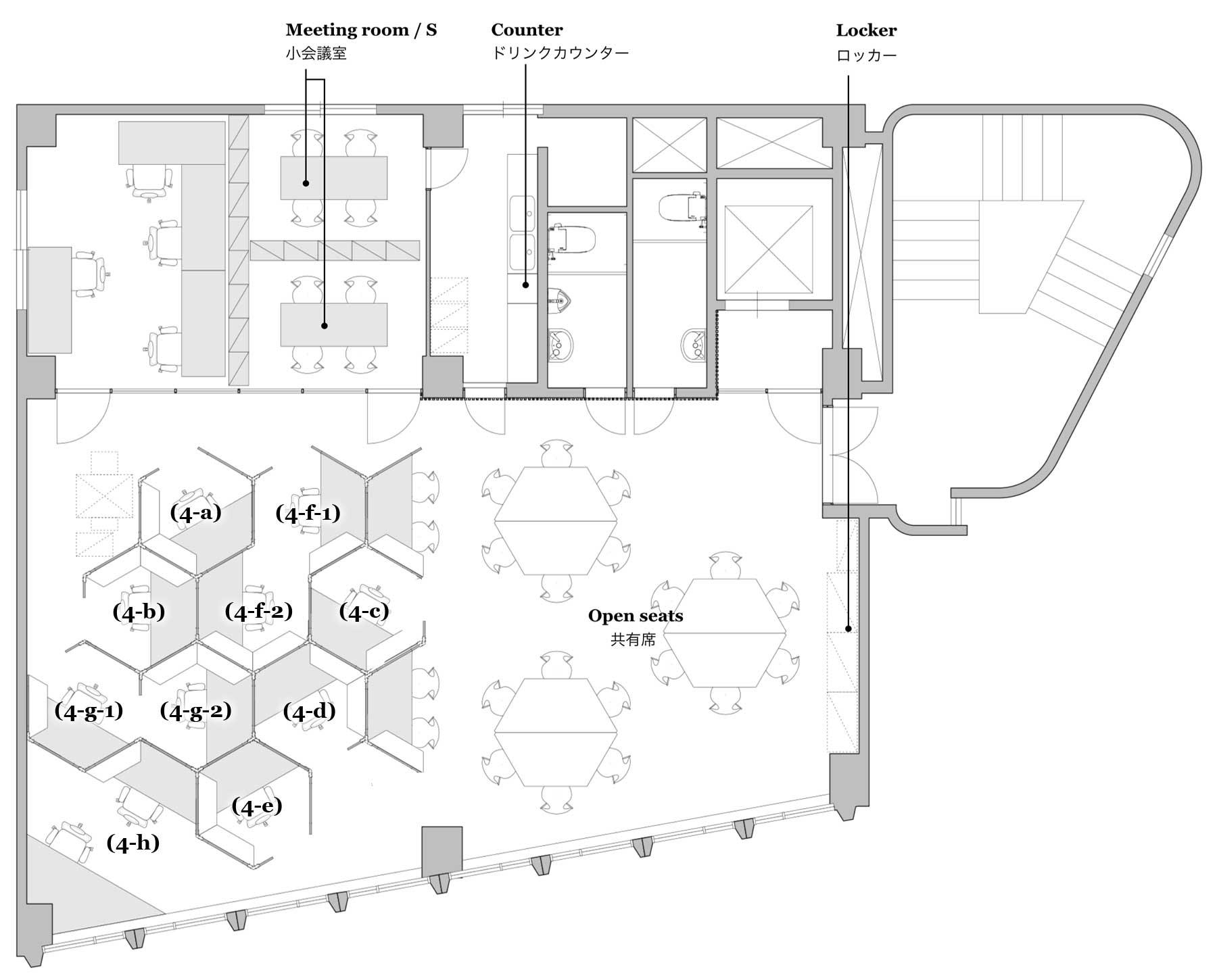 新宿・代々木 シェアオフィス x コワーキング | Connecting The Dots YOYOGI|4階レイアウト